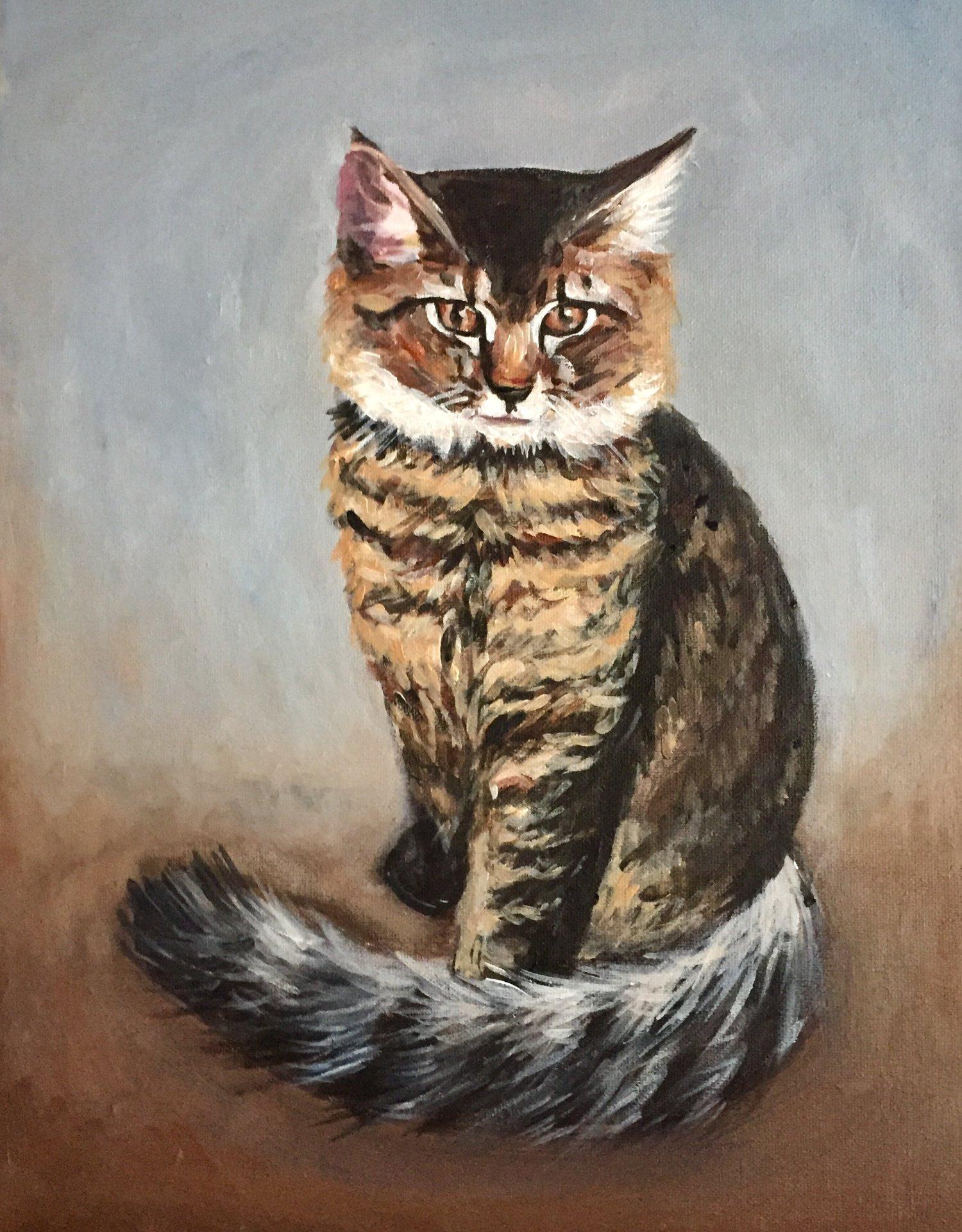 Kitty   2017. Acrylic on canvas. 18 x 24.
