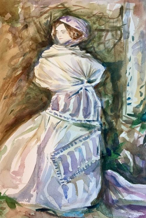 Master copy, John Singer Sargent   2016. Watercolor on paper.