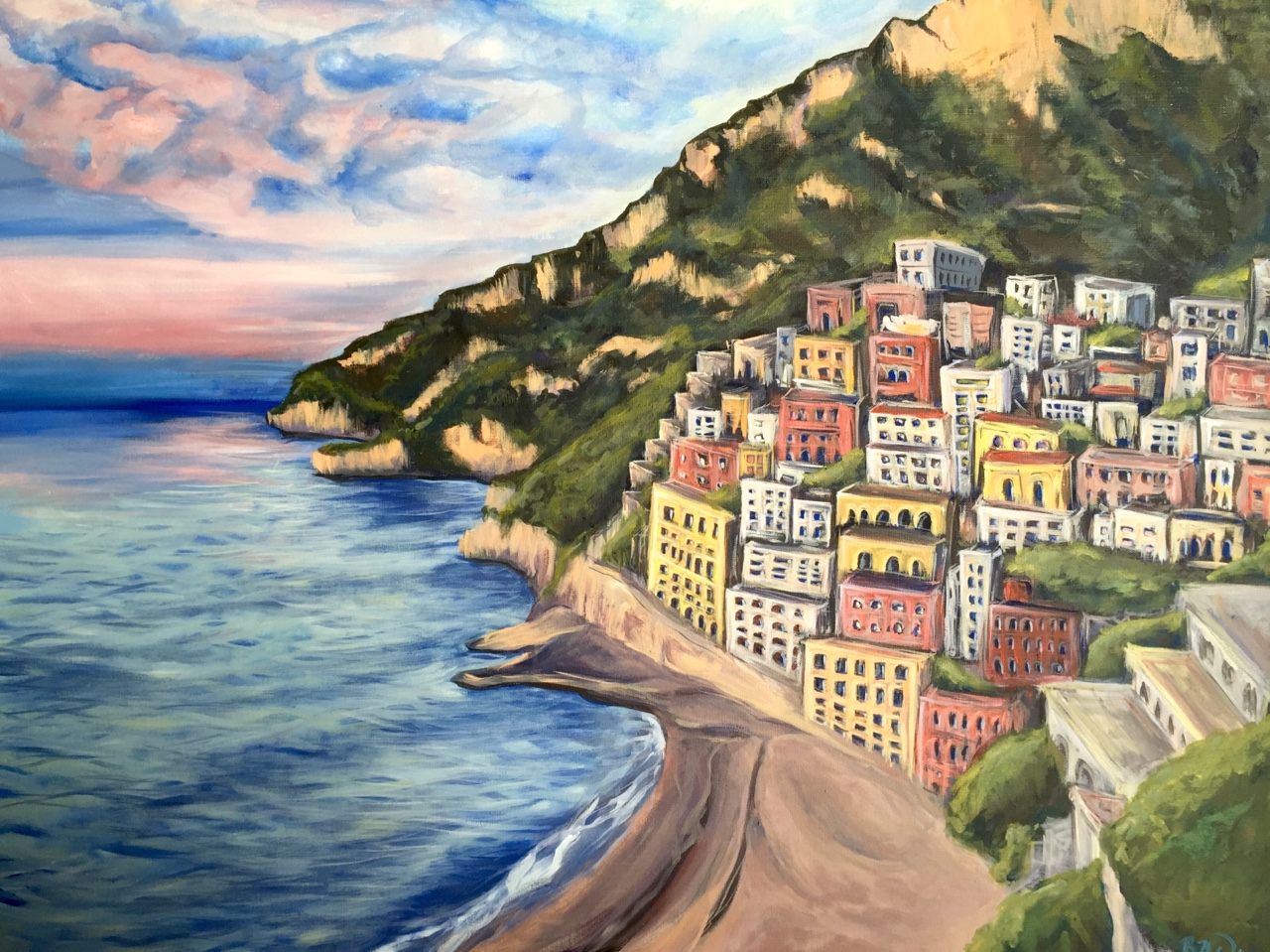 Amalfi Coast   2016. Acrylic on canvas. 30 x 39.6