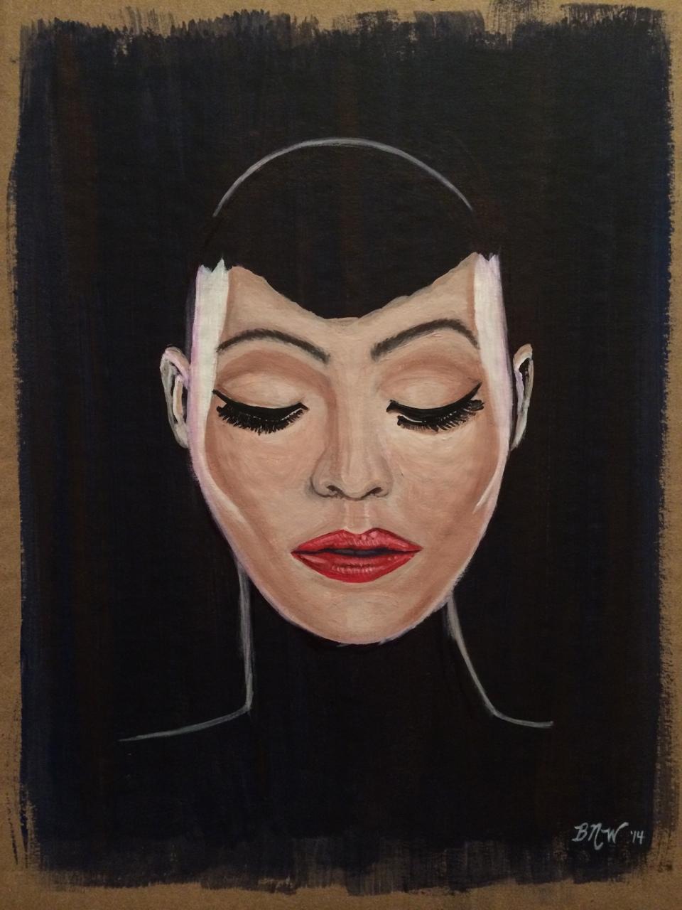 The Mask   2014. Acrylic on cardboard. 18 x 11.