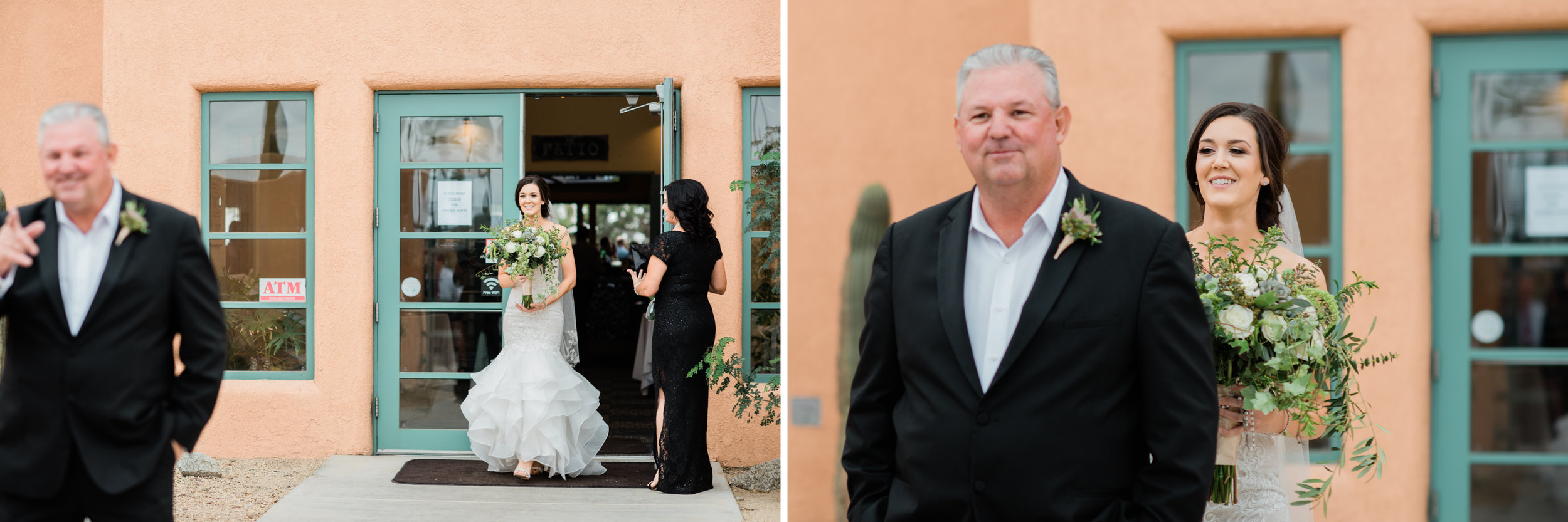 """The bride has a """"first look with her dad shortly before walking down the aisle."""