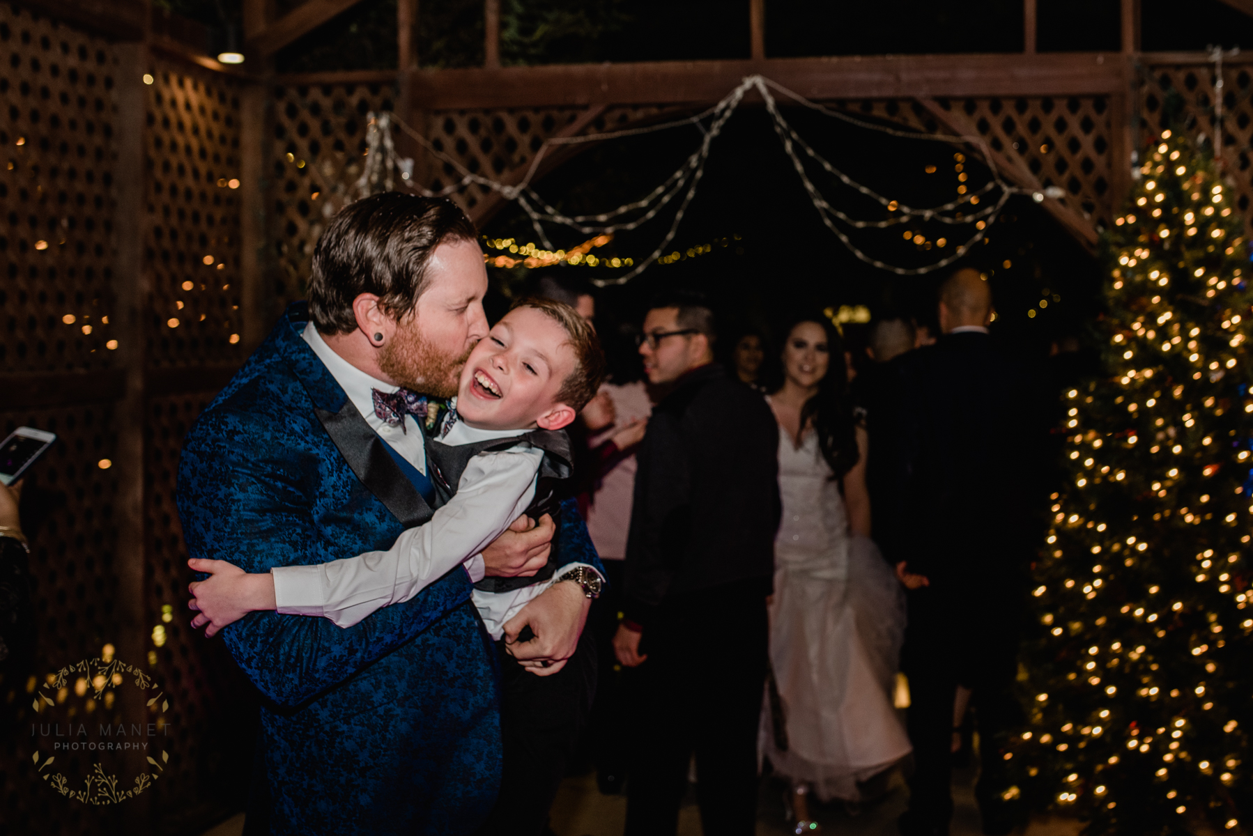 His son caught the garter!