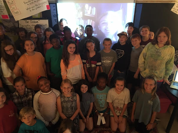 What a great Skype visit -- here I am looming like Big Brother with 5th and a few 4th graders in Puckett, MS!