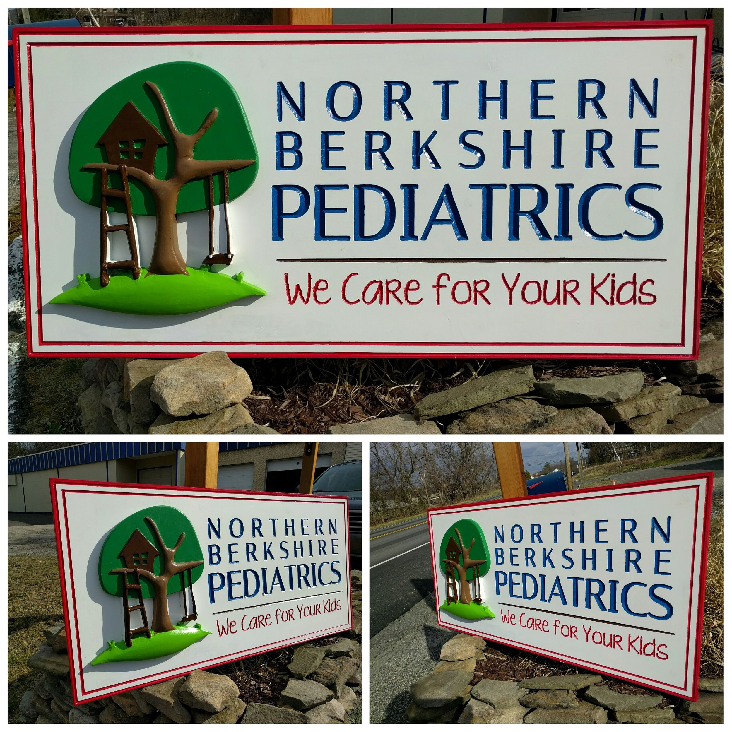 "Northern Berkshire Pediatrics   24"" x 4"" 3D & vCarve Sign. 3D Element made out of HDU foam. Background out of PVC and vCarved.  Sign made from the logo we designed"