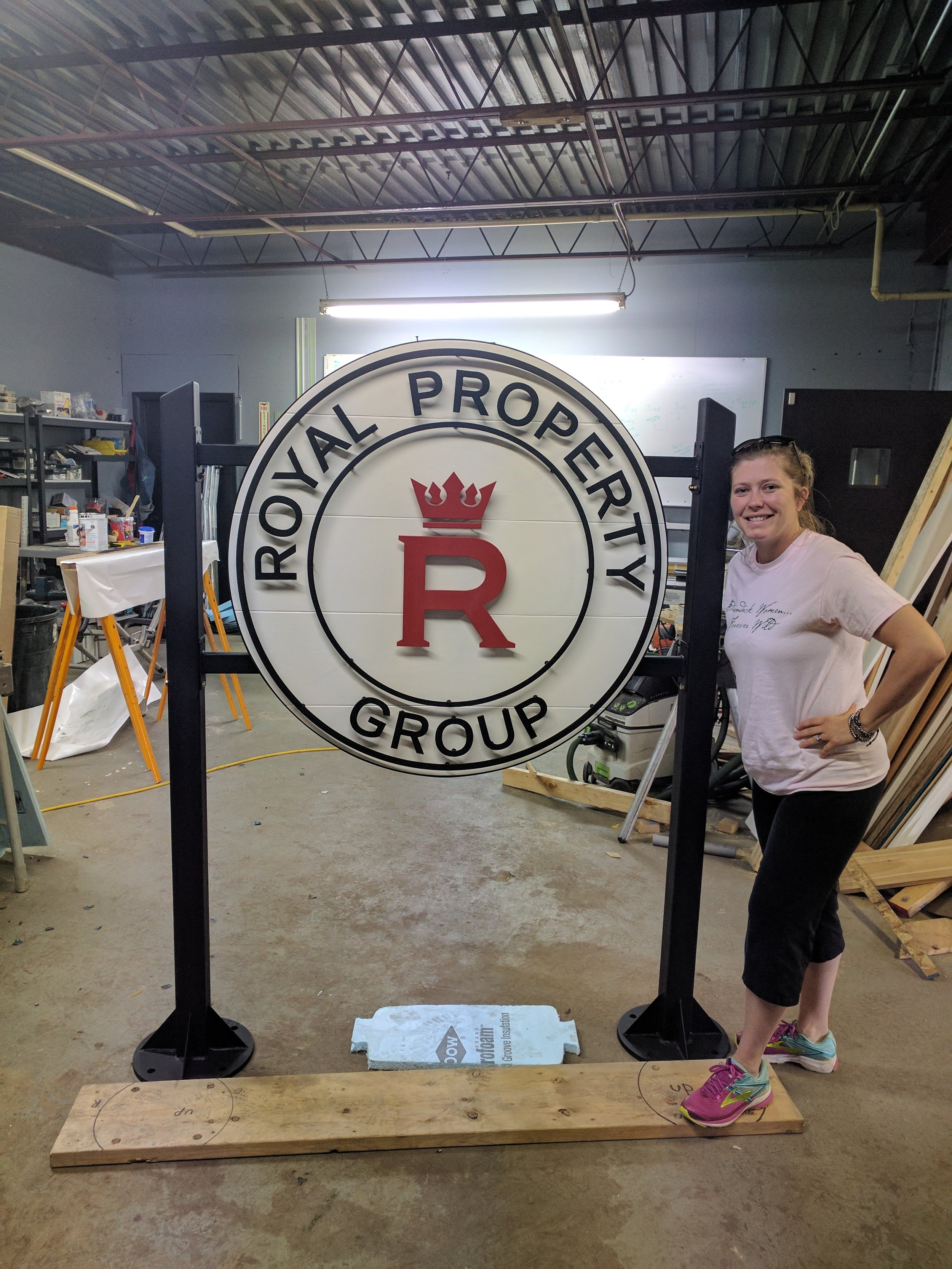 4x4 White painted cedar sign w/ 11GA powder coated. Custom bracket and posts