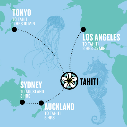 Te Mana Travels map of Tahiti centered in the South Pacific, just 8 hours flight south from Los Angeles (LAX).