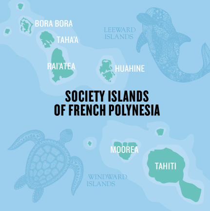 Te Mana Travels map of the Society Islands of French Polynesia, which include Tahiti, Bora Bora, Taha'a and Rai'atea, the islands of your 7-day adventure cruise.