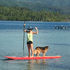 Jennifer Westfall, founder of Te Mana Travels, paddleboarding in the beautiful Tahiti and her islands, including Bora Bora, Taha'a and Rai'atea.