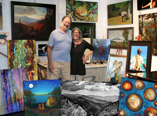 Sally and Randy Frazer, Owners of Double Exposure Art, Asheville NC