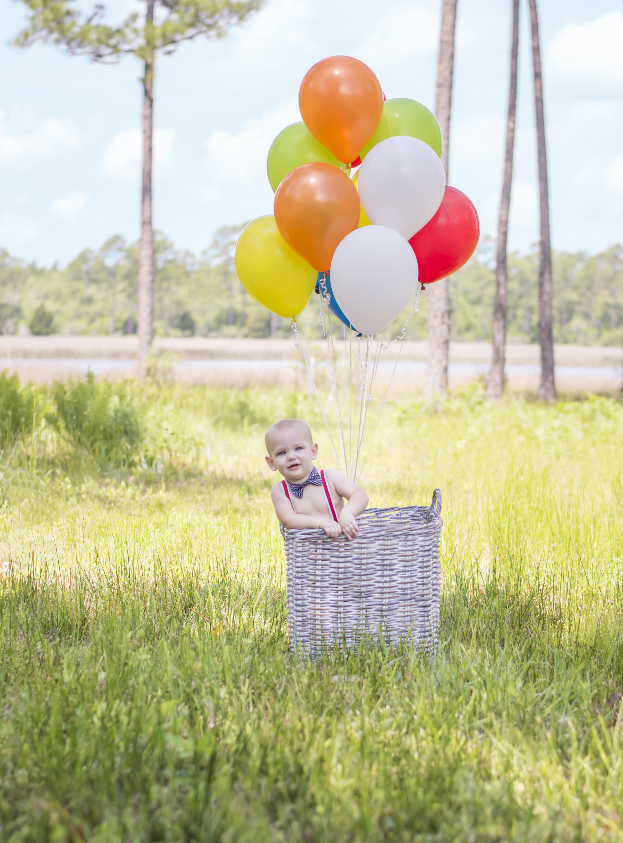 Little Boy in Basket with Balloons Portrait