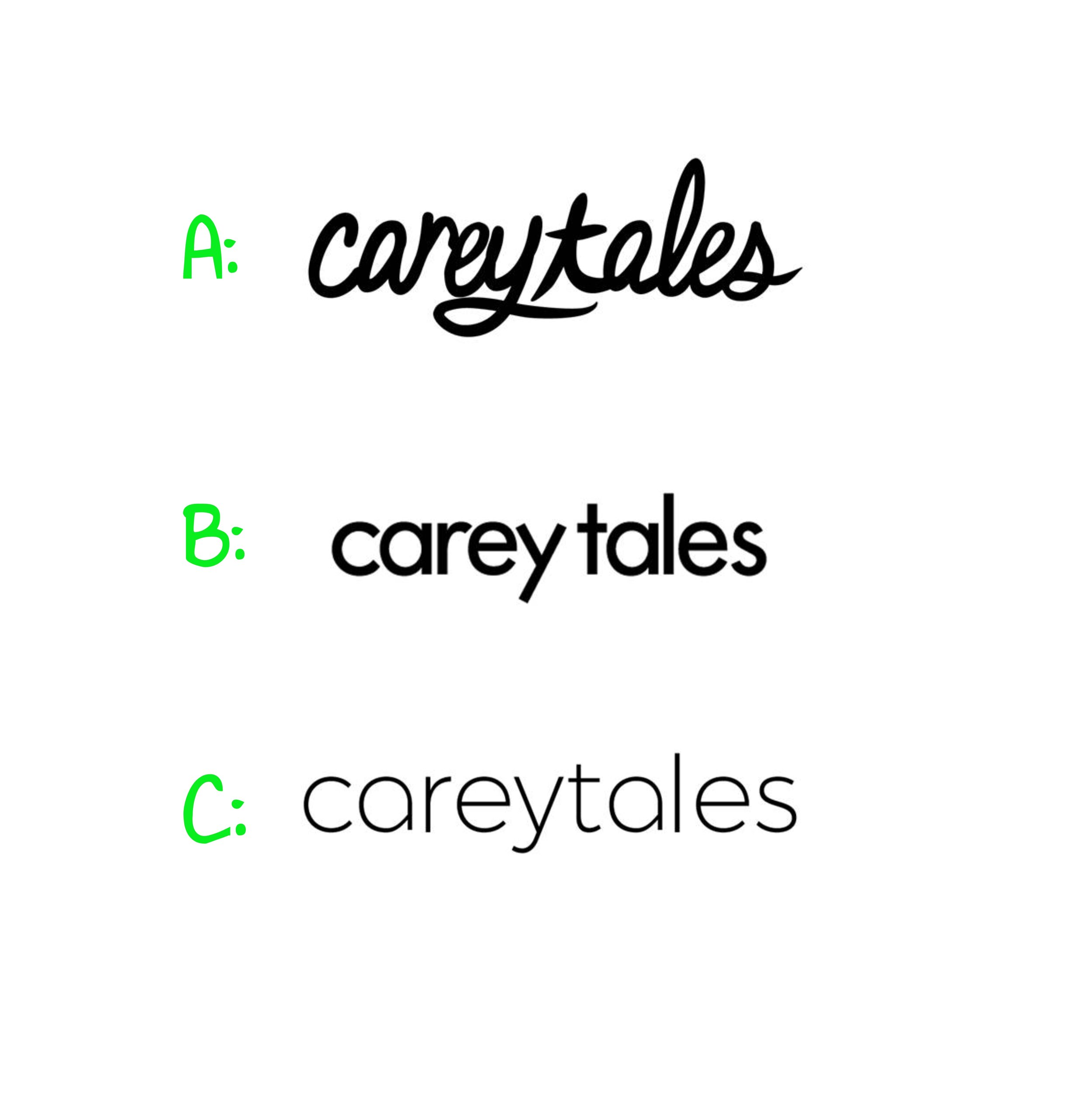 Process of choosing the logo for Carey Tales LLC