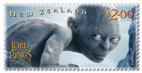 "Image credit: New Zealand Post, ""$2.00 ""Gollum™"" stamp"