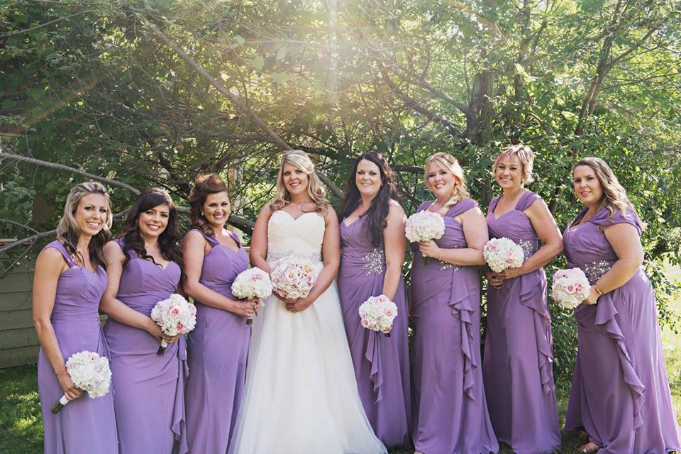 """Jenna writes:   """"I had the pleasure of having Kati do my make-up many times and she never disappoints! I have used her services for photo shoots and special events. I knew when I was getting married that it was a no brainer to hire her to do my make-up and my seven bridesmaids. She took the vision I described for myself and my bridesmaids and went above and beyond my expectations. All my girls looked beautiful and she brought out each of their individual features. Many of them commented later at how beautiful they felt that day. For myself, every time I look back at my photos, I love the way Kati did my eyes and made me feel beautiful that day! I love that my make-up from the first few photos right to the last ones of the night, stayed in place. Kati was on time and kept with our schedule making sure we were ready to go when I had planned to leave the salon which was huge for me since I'm a planner!! If you are looking for someone who is professional, prompt, fun to be around and will make you feel gorgeous, Kati is highly recommended!""""   Photo by:Renaissance Studios  www.renaissancestudios.ca"""