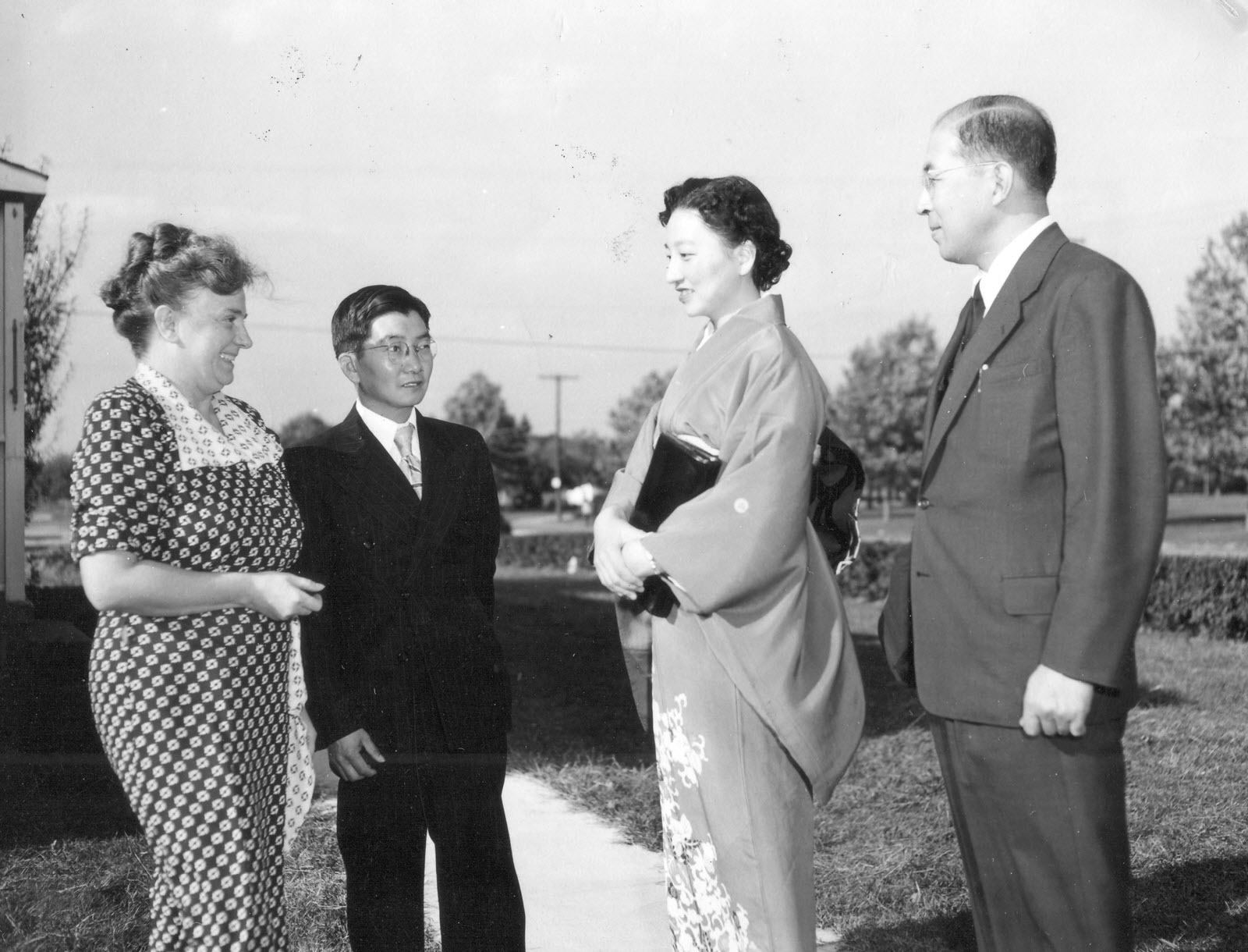 Lady Yoshiko Ohtani - Historical photo of how Gomonshu Kosho Ohtani and Lady Ohtani visited BCA Temples. Shown here is her visit to Seabrook Buddhist Temple in 1952.