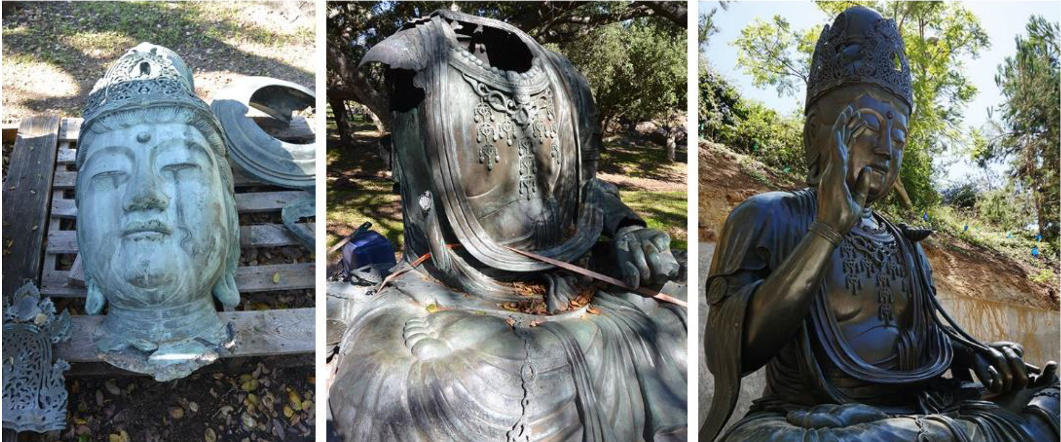 Left and Middle: Before restoration. Right: Restored statue in new setting. Photos courtesy of the Japanese Friendship Garden of San Diego, Deccember 20, 2018 press release.
