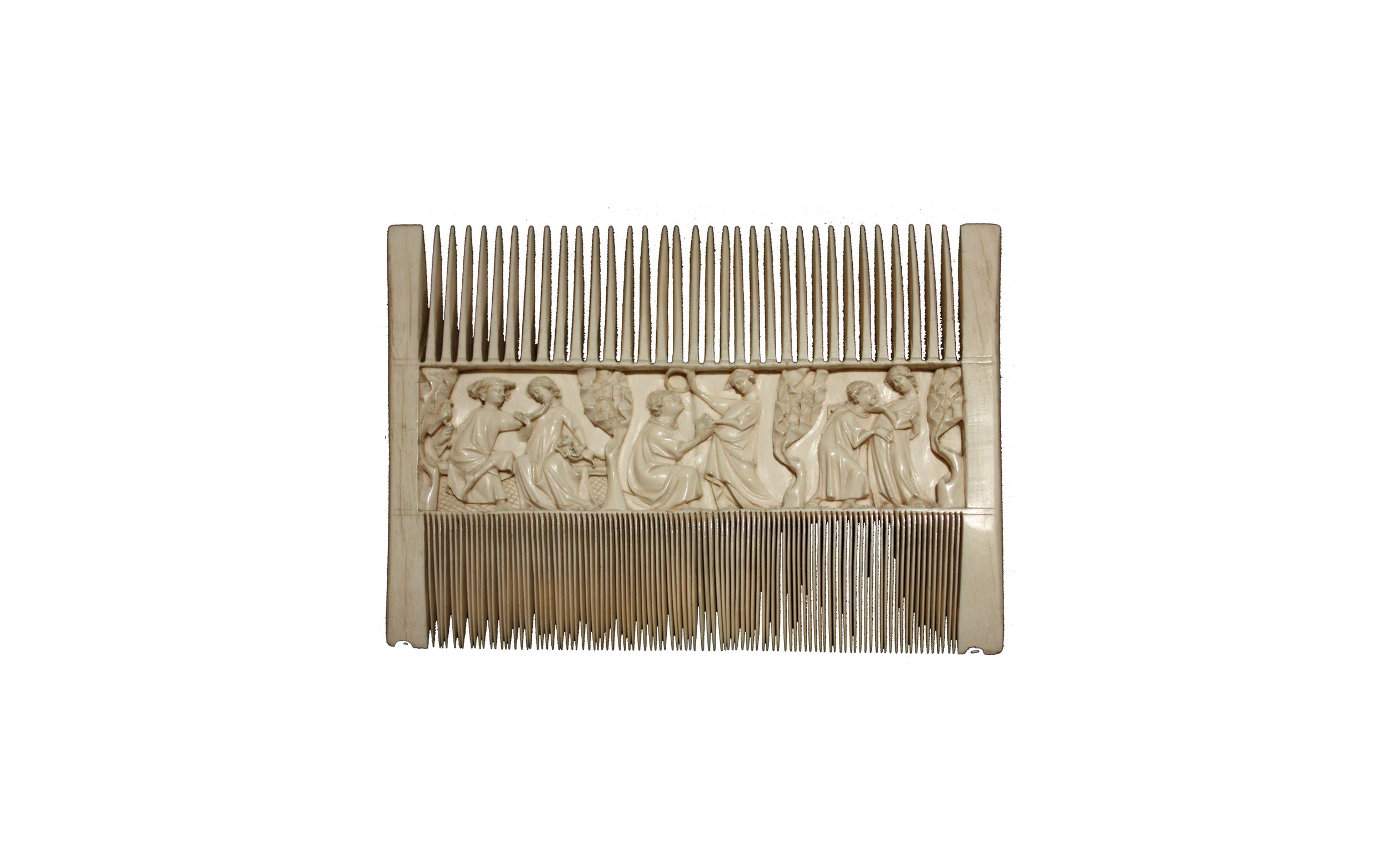 Fig. 10: Double-sided comb with lovers in a garden, 1325-1350, ivory, 28 x 20 mm, made in Paris, The National Gallery, London