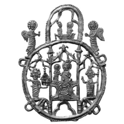 Badge with enthroned Madonna and Child, Charlemagne with model of chapel and bishop with staff on both sides standing under arcade, in round frame surmounted by oval frame with Coronation of the Virgin, angel on either side, found in Dordrecht, lead-tin alloy, 1325-1374, Van Beuningen family collection, Langbroek