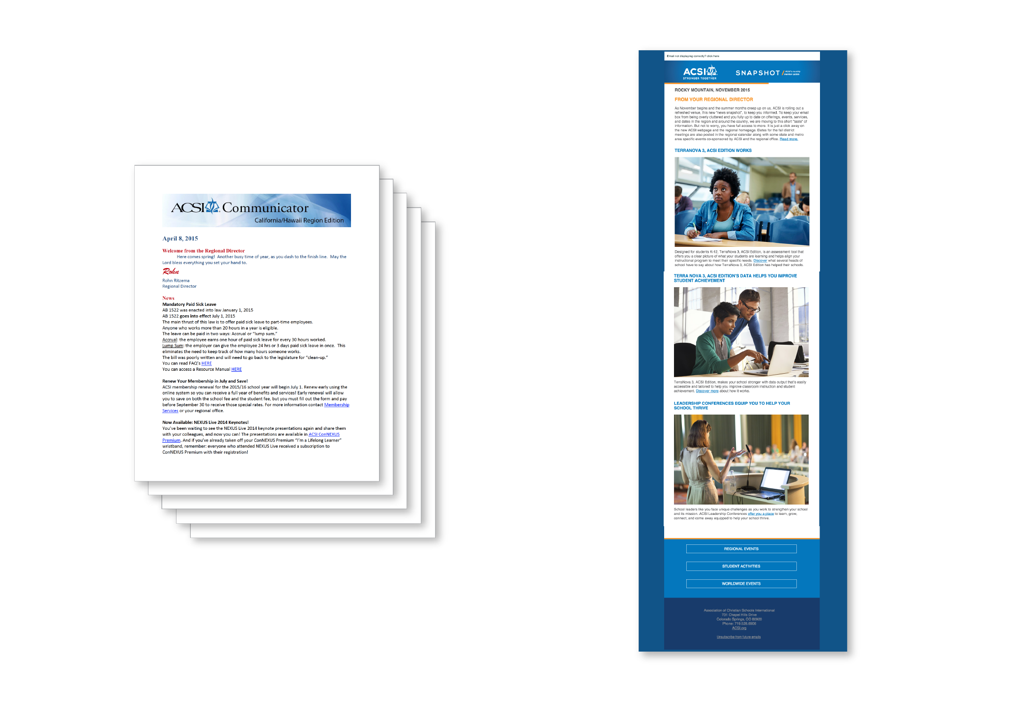 Before and after: ACSI's Communicator, now known as Snapshot