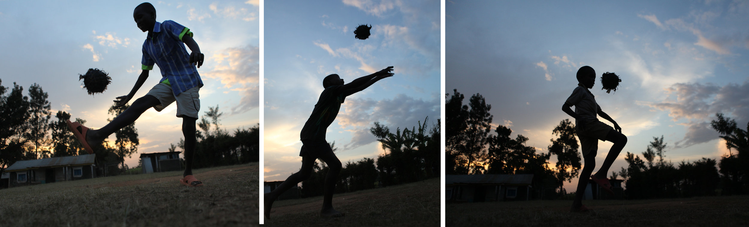A Kenyan boy plays with a handmade soccer ball. David took this series of pictures on a trip to serve BlueSky.