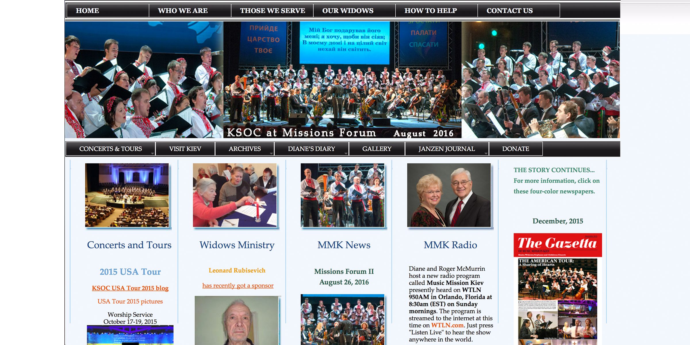 The home page of Music Mission Kiev's previous website.
