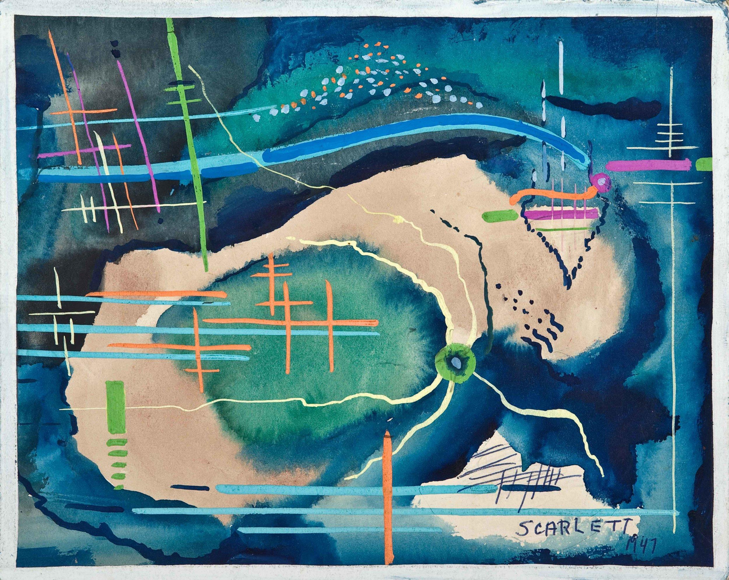 "Rolph Scarlett,(RS174), 1947, graphite, ink and gouache on illustration board, 16 5/8 x 17 7/8"" framed"