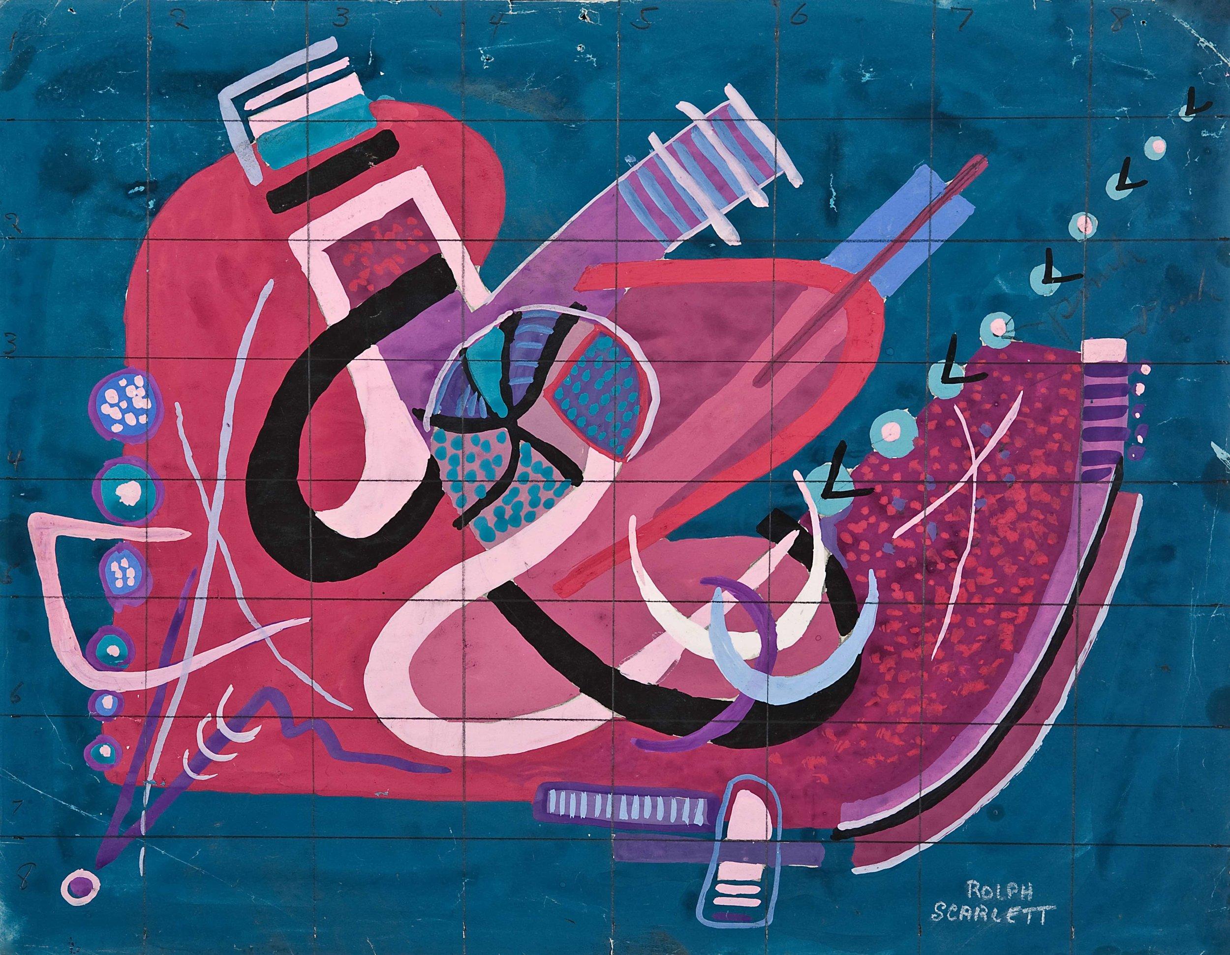 "Rolph Scarlett, (RS170),  c. 1944,graphite and gouache on paper, 18 1/2 x 20 3/8"" framed"