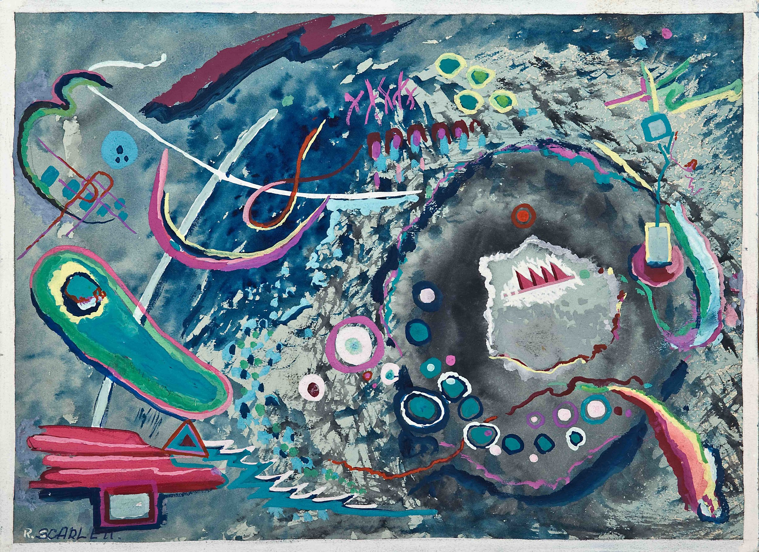 "Rolph Scarlett, (RS172),  c. 1945, graphite, ink and gouache on illustration board, 17 5/8 x 19 7/8"" framed"