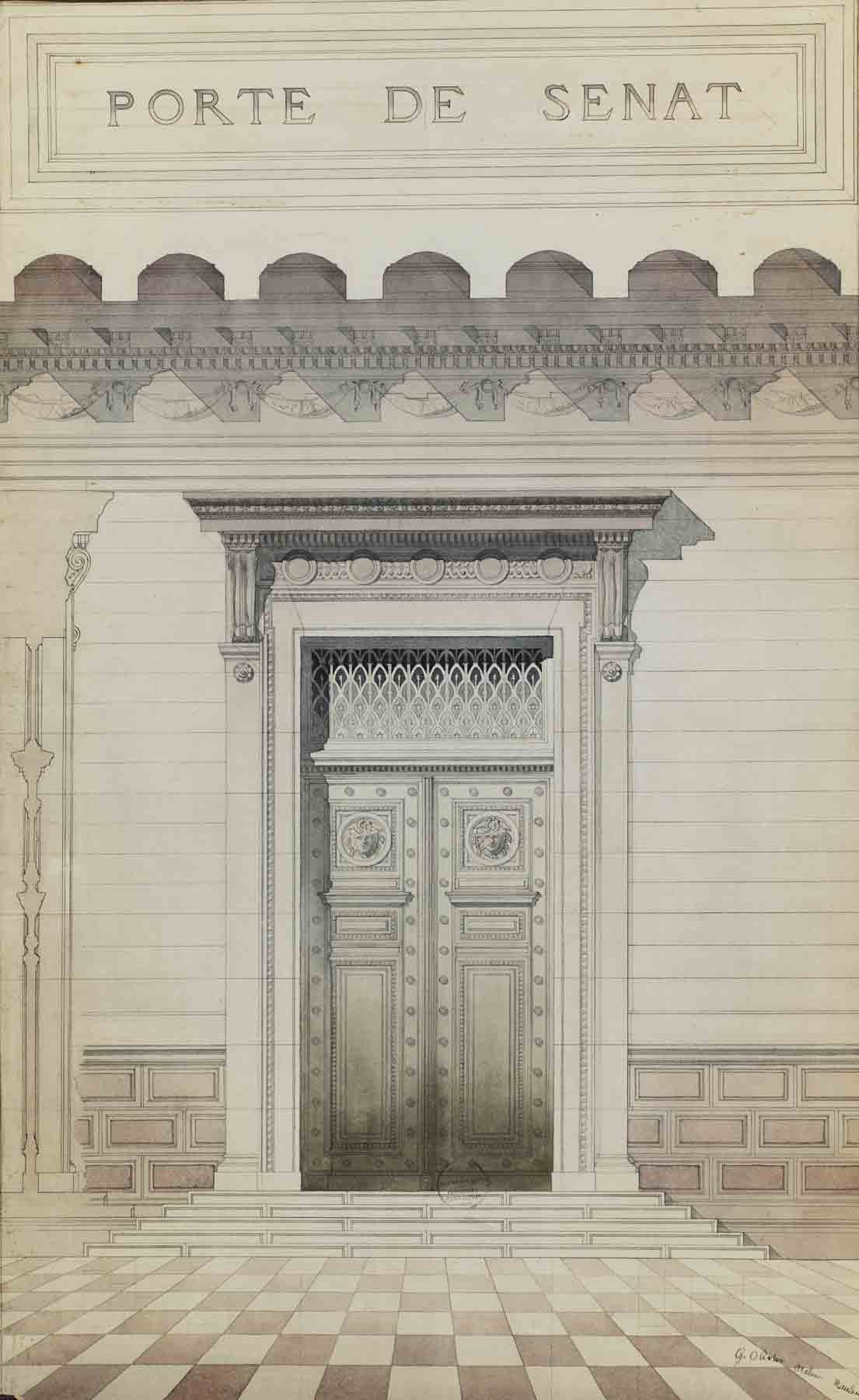 """Jules-Germain Olivier (French, 1869-1940),  Senate Door,  late 1880s, pencil, ink and watercolor on paper, 41 7/8 x 27 13/16"""" framed"""
