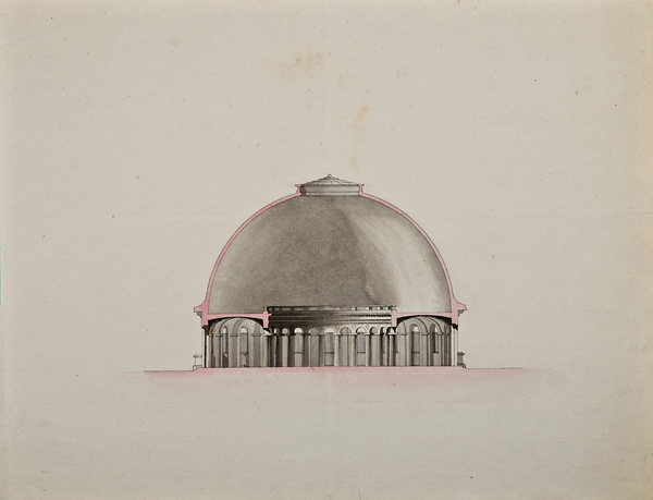 """François Verly (Lille 1760 - 1822)  Utopian Dome,  19th century, ink and watercolor on paper, 19 x 24 1/2"""" framed"""
