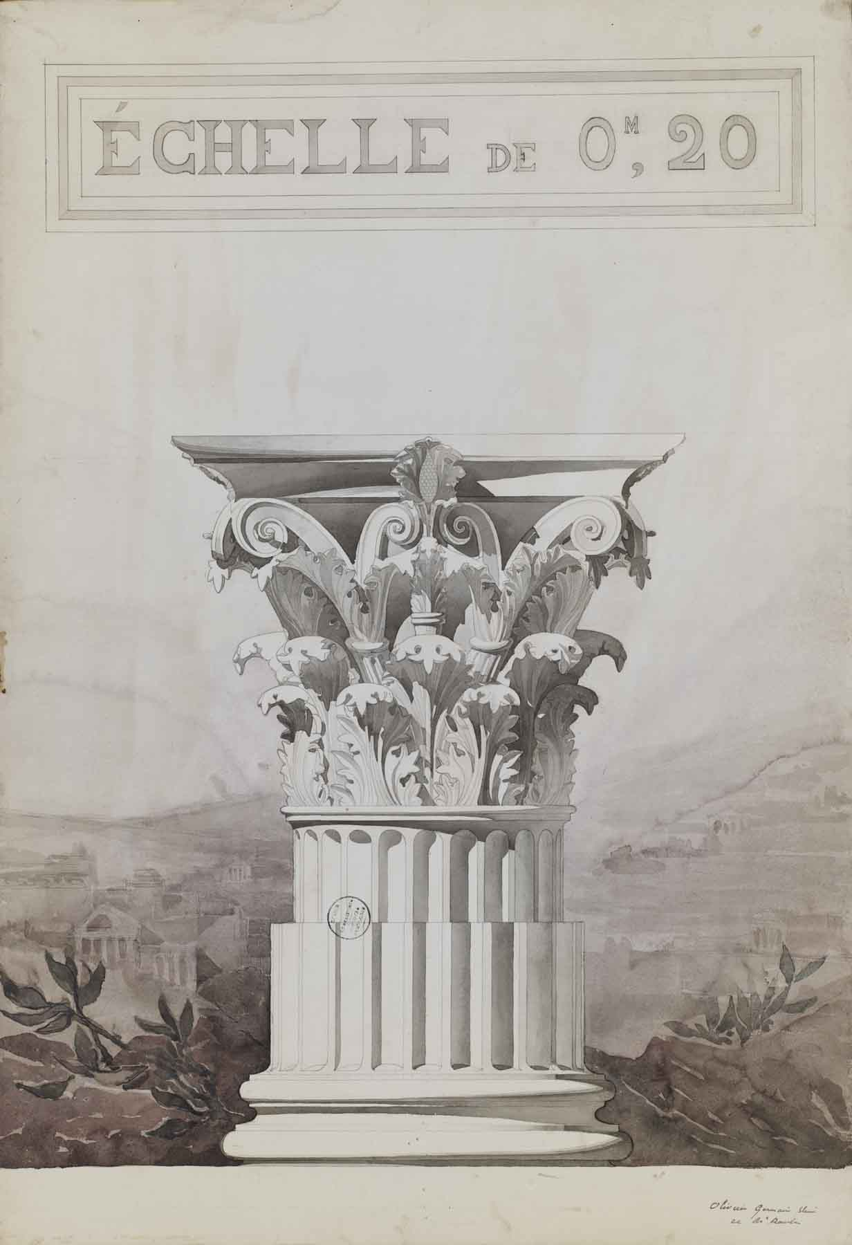 """Jules-Germain Olivier, Study of a Corinthian Column Capital,  1890-1900, pencil and watercolor on paper,43 3/4 x 31 7/8"""" framed"""