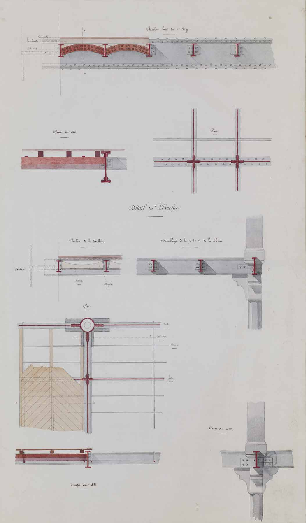 """Jules-Germain Olivier, Ironwork: Details of the Floors,  c. 1890-1900, ink and watercolor on paper,41 1/4 x 26 1/4"""" framed"""