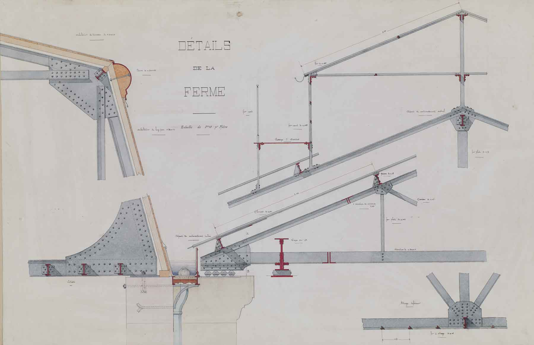 """Jules-Germain Olivier, Ironwork: Details of the  Roof Truss,c. 1890-1900, ink and watercolor on paper,33 1/4 x 44 3/4"""" framed"""