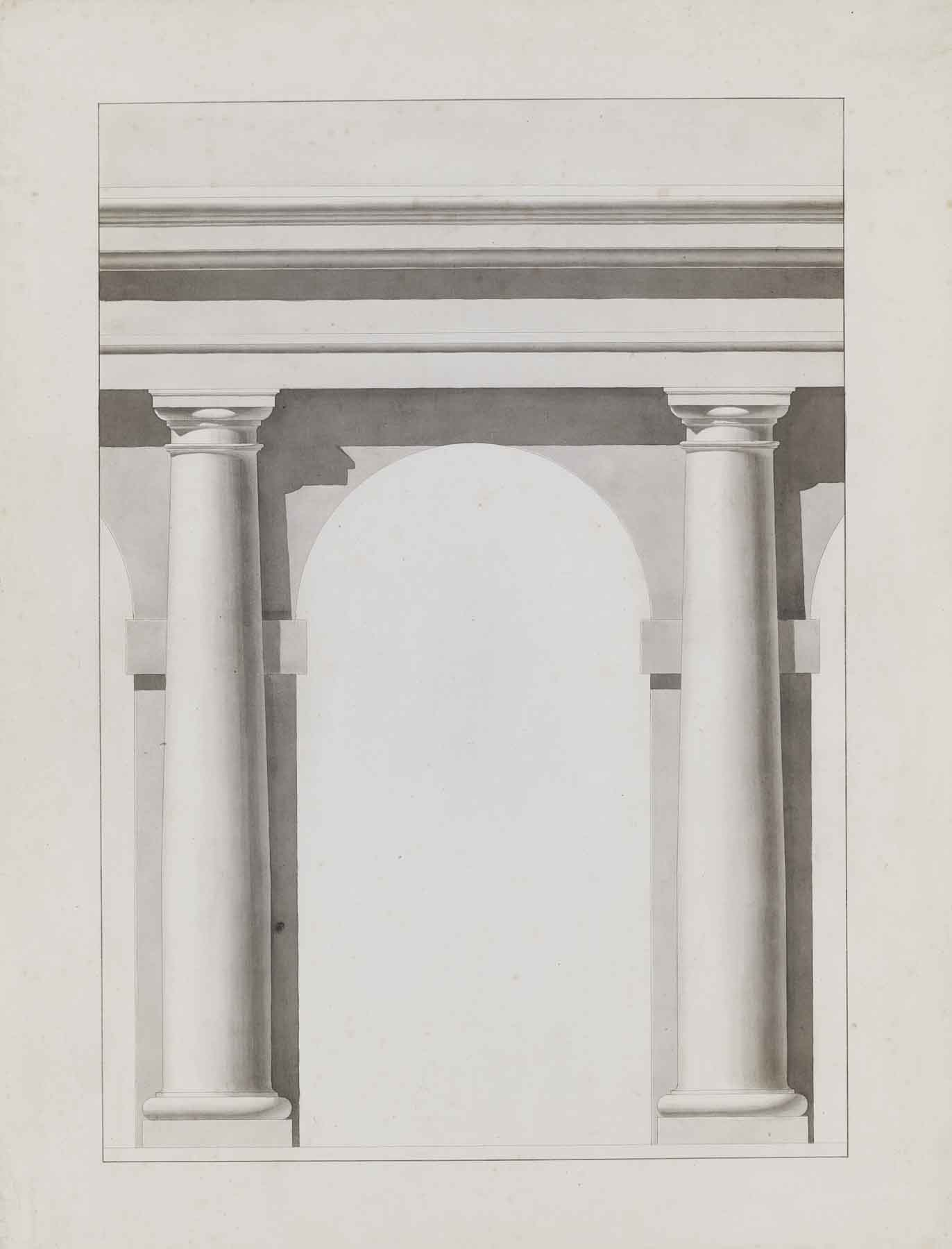 """Théodore Olivier, Study of Columns, c. 1840,ink and lavis (wash) on paper,31 1/2 x 25 1/2"""" framed"""