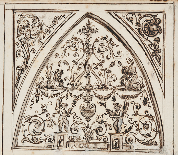 """Italian School, c. 1800, Architectural Detail 1441, ink, lavis (wash) and gouache on paper,18 x 14"""" matted"""