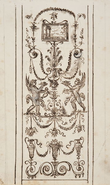 """Italian School, c. 1800, Architectural Detail 1442, ink, lavis (wash) and gouache on paper,14 x 18"""" matted"""