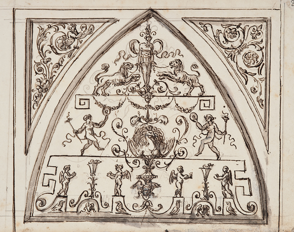"""Italian School, c. 1800, Architectural Detail 1444, ink, lavis (wash) and gouache on paper,14 x 18"""" matted"""
