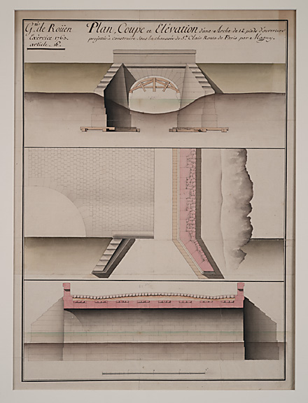 """Rouen (French, 18th century), Proposal for a Bridge at St. Claire on the Road to Paris by Magny, 1763,pencil, ink, bistre and watercolor on paper,25 1/4 x 19 1/4"""""""