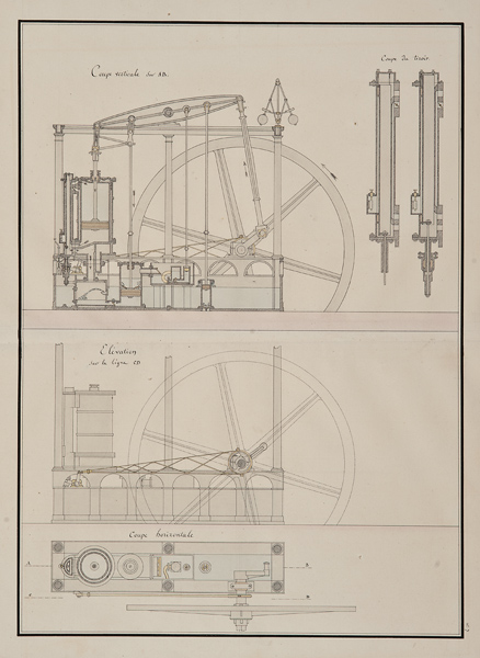 """Ecole Polytechnique, Steam Engine Design , pencil, ink and watercolor on paper,21 3/4 x 17 3/4"""""""