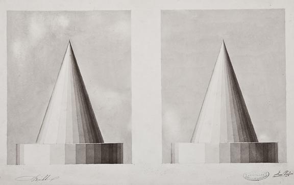 "Henri Puet, Cone Studies, 19th century, bistre on paper, 12 1/4 x 19"""