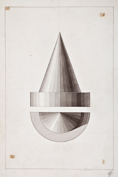 """Henri Puet, Cone Studies, 19th century, ink and watercolor on paper,18 3/4 x 12 5/8"""""""