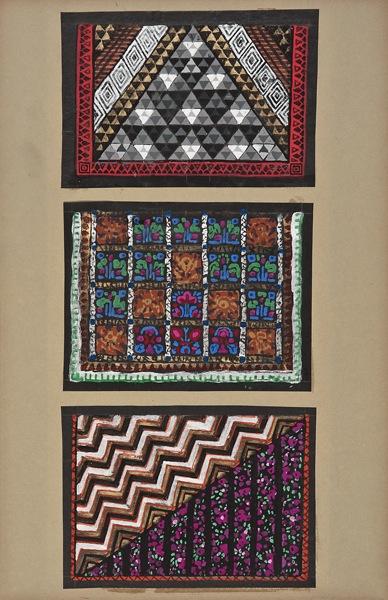 "Maurice Leonard,Lyon, 1899-1971, Three textile designs, early 20th c.,gouache,19 3/4 x 9 1/4"""