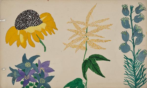 "Martine Le Cours Pour Maison Paul Poiret (1879-1944), France, Design Project:Sunflower, Balloon Flowers, and Astible, c. 1910, pencil and gouache, 11 x 14 1/4"""