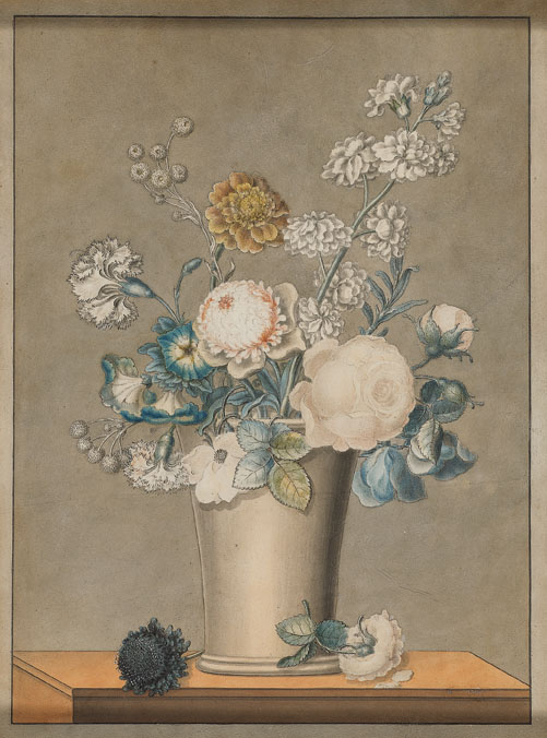 """J.J. Prin, French, 19th c., Floral Still Life, watercolor and pencil,14 x 11"""""""
