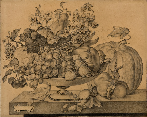 """French School, c. 1800-1820, Still Life with Fruit Bowl and Bird, pencil, 23 5/8 x 25"""""""