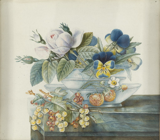 """French, 19th century, Still Life with Berries, Pansies and Roses in a Glass Bowl, colored pencil and watercolor,13 3/4 x 15"""""""