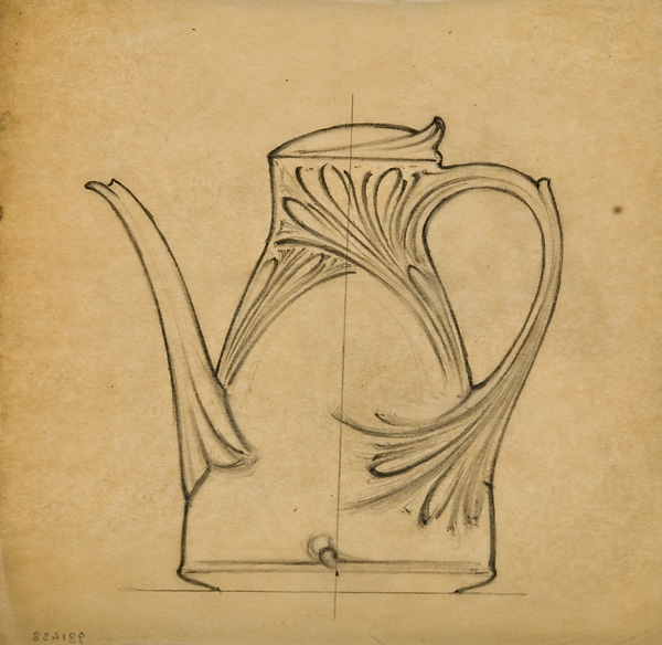 Louis Brocard, French, active 1870s-1910s,  Design for a cafetière [coffee-pot] with stylized design,  early 20th c., graphite, 8 5/8x8 3/4""