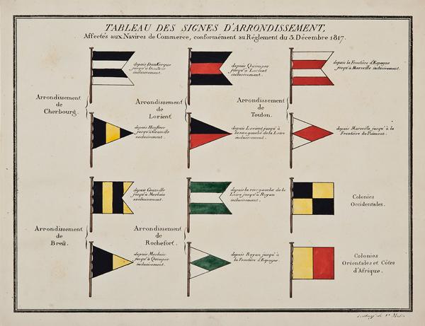"""C. Motte, French, Tableau des Signes d'Arrondissement, Marine Standards, c. 1820,hand colored lithograph,9 1/2 x 12"""""""