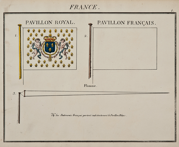 """C. Motte, French, France, Marine Standard 1, c. 1820,hand colored lithograph,9 1/2 x 12"""""""