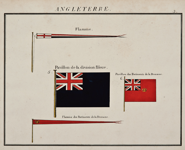 """C. Motte, French, Angleterre, Marine Standard 3, c. 1820,hand colored lithograph,9 1/2 x 12"""""""
