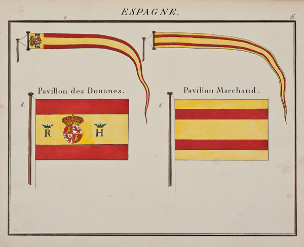 """C. Motte, French, Espagne , Marine Standard 5, c. 1820,hand colored lithograph,9 1/2 x 12"""""""